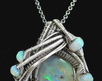 Wire-Wrapped Australian Opal Pendant Necklace in Antiqued Sterling Silver with Ethiopian Welo Opals
