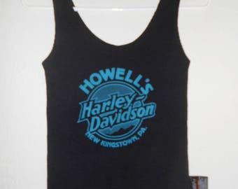 Vintage 1990s HARLEY DAVIDSON women's black screen-print waffle tank, Small
