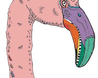 pink flamingo illustration art print
