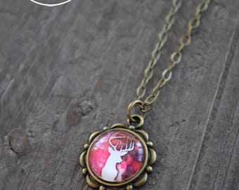 Collier court - Collier chevreuil - Deer necklace - Coco Matcha
