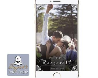 White Decorated Wedding SnapChat Filter - Custom Geofilter
