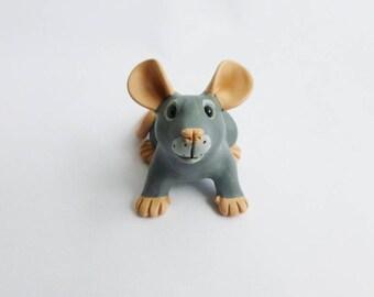 Dark Blue Rat Fancy Rat Sculpture Pet Rat Ornament Polymer Clay Mouse