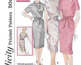 Simplicity 3780 Misses' 60s One Piece Slim Dress in Proportioned Sizes Sewing Pattern Size 12 Bust 32