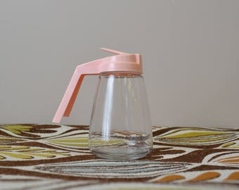 1960s Federal Glass Syrup Pitcher with Pink Top