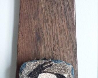 "primitive needle punch DARK BROWN BUNNY 3"" oval tart tin pin cushion"