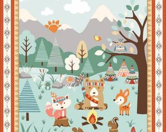 Baby fabric panel,  Woodland baby animals, Indian Tribal and Teepees fabric l100% cotton for general arts, crafts and all sewing projects