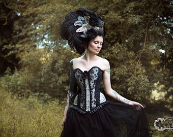 Black Embroidered 'Georgina' Ostrich Feather Couture Headdress