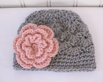 Baby Hat - Crochet Hat - Girls Hat - Toddler Hat - Newborn Hat - Baby Girl Hat - Winter Hat - Light Grey Hat - Gray Hat & Dusty Pink Flower