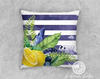 "18"" Decorative Pillow - Blueberry Lemonade Stripe"