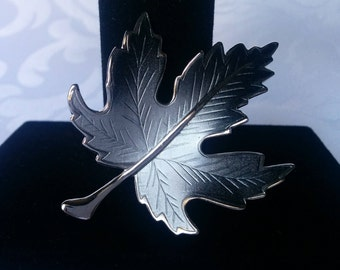 Silver Maple Leaf Brooch, Silver and Charcoal Grey Ombre Maple Leaf Brooch, Maple Leaf, Brooch