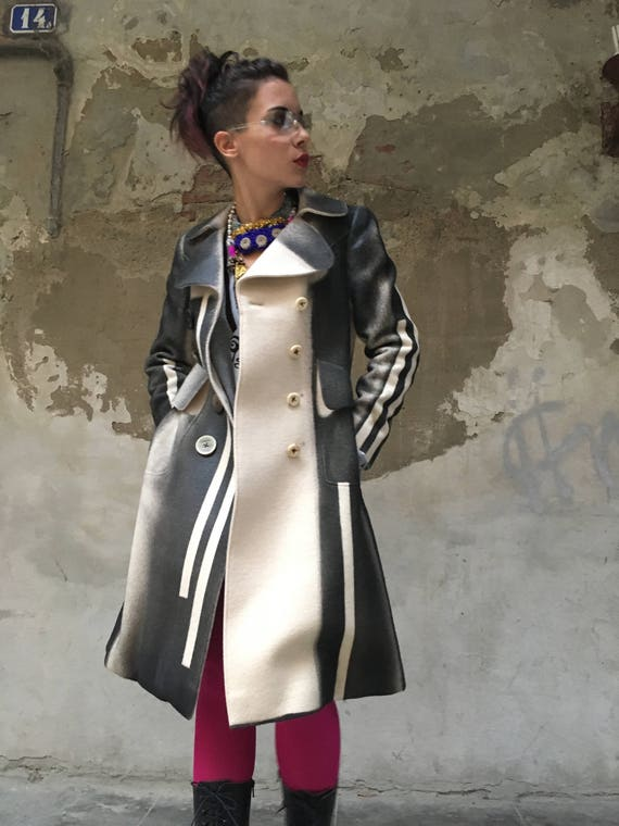 Wool Coat Hand-painted Skin Effect Lola Darling MUTAZIONI  Made in Italy Seventy Vintage Garment base Not Used Limited Edition