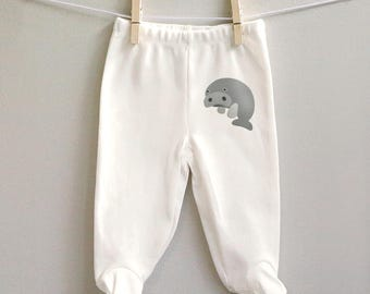 Baby pants with feet, Manatee footed baby pants, organic cotton baby pants, Manatee baby gift