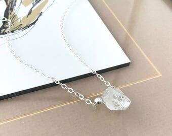 Silver Rough Herkimer Diamond Necklace