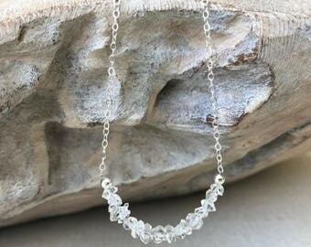 Dainty Raw Herkimer Diamond Necklace in Gold or Silver