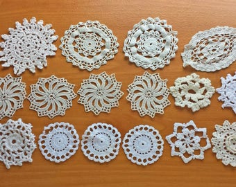 16 Imperfect Vintage Crochet Doily Coaster Medallions, Craft Doilies for Pottery, Sewing, Stamping and More, Damaged Doilies