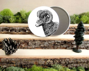 "Ram Pocket Mirror - Big Horned Ram Canadian Gift - Animal Pocket Mirror 3.5"" - Large Make Up Mirror - Gift under 10 dollars Girl Gift"