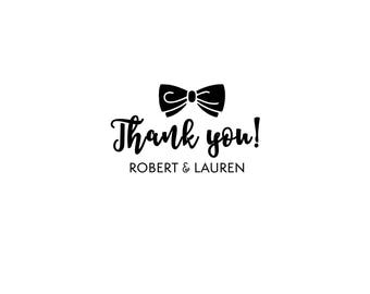 Personalized Custom Return Address Rubber Stamp or Self Inking Wedding Favor Save the Date Engagement Formal Event Bow Tie