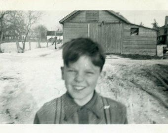 "Vintage Photo ""The Farm Boy"" Snapshot Antique Black & White Photograph Found Paper Ephemera Vernacular Interior Design Mood - 20"