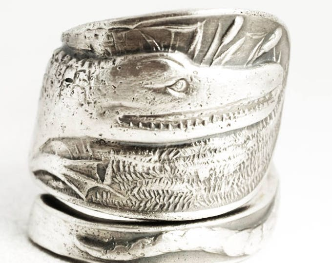 Crocodile Ring, Alligator Ring, Gator Ring, Spoon Ring Sterling Silver, Animal Ring, Reptile Jewelry, Gator Jewelry, Adjustable Size (7035)