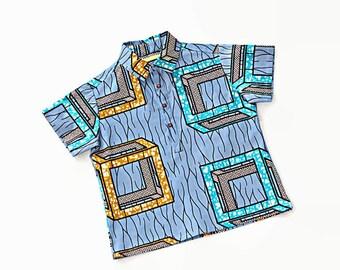 African Print boys shirt, Ankara boys shirt, African wax print boys shirt, Blue cotton polo shirt