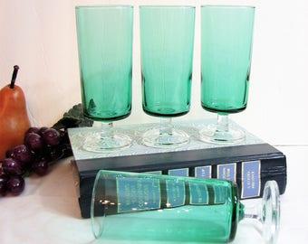 "Modern Champagne Flutes, Spruce Green CAVALIER Footed Cocktail Glasses 5 3/8"" 6oz, Set of 4, JG Durand Luminarc, Vintage Retro Barware"