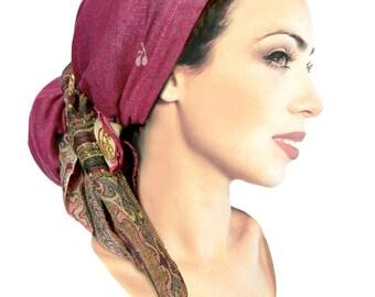 Fuchsia pink headcover ethnic magenta head scarf hippie boho chic snood tichel pre tied bandana chemo hat cap ShariRose pashima soft gold