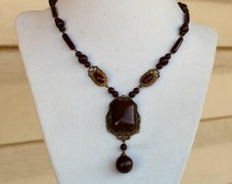 Beautiful Vintage Czech Glass Brown Glass Filigree Necklace