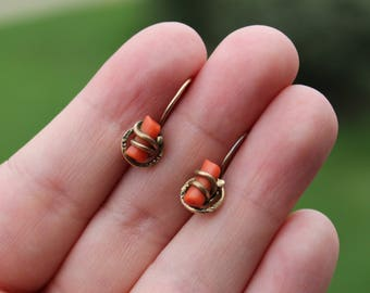 Vintage Gold Filled and Coral Branch Victorian Pierced Earrings