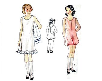 1930s Girls Slip Pattern and Combination Pattern, Lingerie, Size 14, Bust 32, Simplicity 1709, Vintage