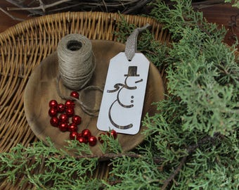Snowman - Christmas - Tag - Ornament - for Rustic, Farmhouse, Boho, Primitive Styles