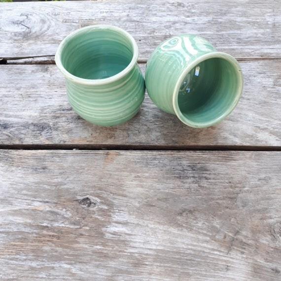 Pottery wine tumblers, tea,  cup, stemless goblets in soft aquamarine holds six ounces