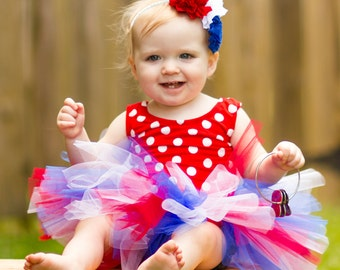 Fourth of July Tutu for Baby, Newborn or Toddler - for Parades, Military Homecomings, Birth Announcements