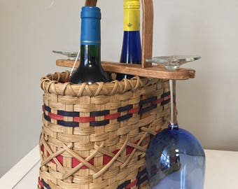 Double Wine Tote - Handmade Woven Basket with 2 wine glasses