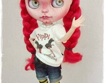 PIPPI LANGSTRUMP Blythe custom doll by Antique Shop Dolls