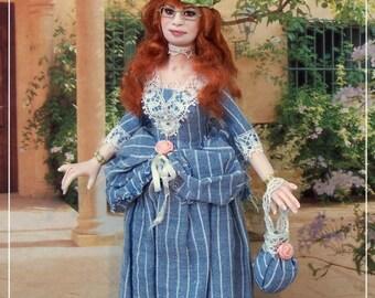 LADY SORAYA  ooak  Edwardian lady 1:12 dollhouses doll by Soraya Merino