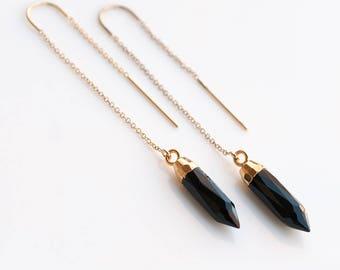 Black Onyx Threader Earrings, Gemstone Spike Earrings, 14k Gold Filled Ear Threader Earrings, Minimalist Jewelry, Long Gold Dangle Chain