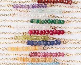Natural Gemstone Bar Necklaces, Crystal Necklaces, Bead Bar Birthstone Necklace, Layering Necklace, Delicate Choker Necklace, Tiny Gemstones