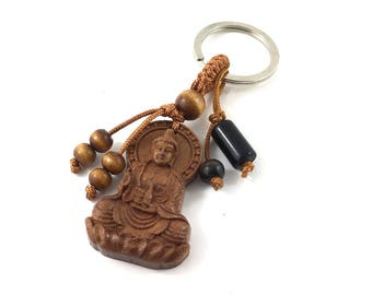 Buddha Wood Pendant Keychain, Obsidian Keyring, Zen Buddhist Key Lanyard, Protection Talisman Chakra Crystal Budget Gift for Buddhist Friend