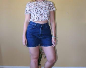 """Vintage High Waisted LEE Dark Denim Shorts Womens Size 10M 27"""" waist"""