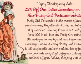 "Happy Thanksgiving, SALE, 25% Off, 4""x6"" Funny Postcards, Pretty Girl Postcards, 5""x7"" Greeting Cards w/Envelope, Forgotten Art Cards,"