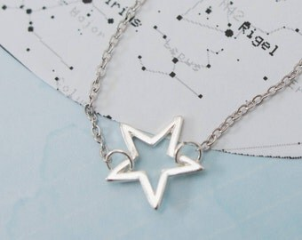 Star Choker, Silver Choker, Silver Star Choker, Chain Choker, Star Necklace, Star Charm Choker, Teenager Gift, Gift For Her, Star Jewellery