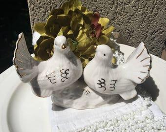 Doves Wedding Cake Topper Ceramic Love Birds Figurine - #D2426