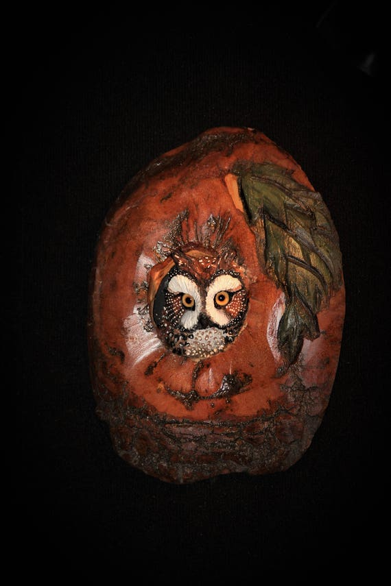 Owl Bird Wall Art Wood- Hand Sculpted and Carved - OOAK