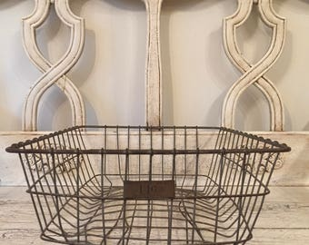 Vintage Rustic Wire Storage Basket - Large Industrial Locker Basket, Low