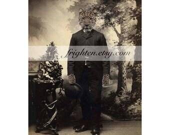 Leopard Art, Anthropomorphic, 8.5 x 11 Inch Print, Animal in Clothes, Victorian Man, Animal Portrait, Cat in Suit