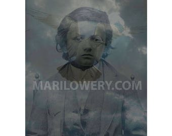 Moody Art Print, Mixed Media Collage 8.5 x 11 Inch Print, Blue Wall Decor, Altered Tintype Boy with Seagull and Clouds Art, frighten