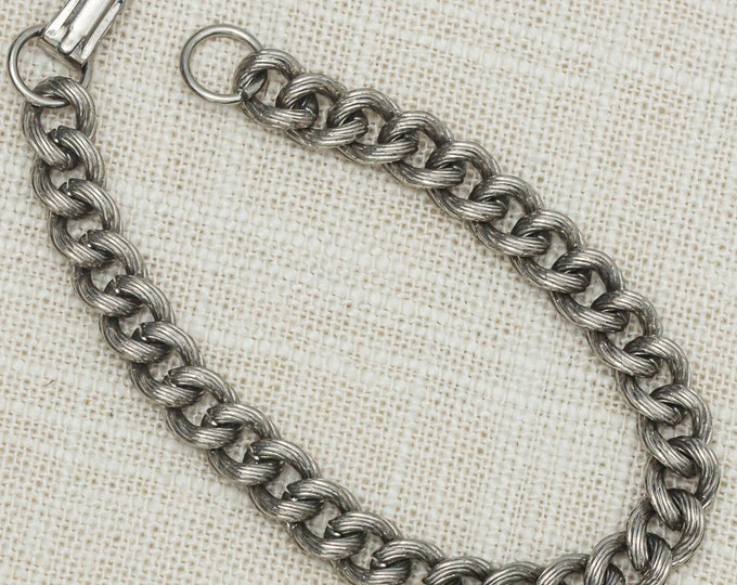 Vintage Silver Cable Link Bracelet Etched Unique Costume Jewelry 7OO
