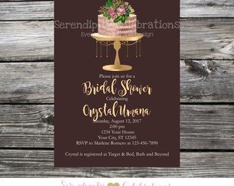 Cake Invitation, Bridal Shower Invite, Shabby Chic Invite, Sweet 16 Party Invite, Baby Shower Invite, Printed Invitations, Adult Invite