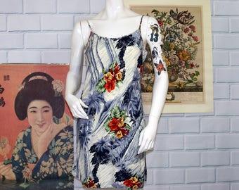 Hawaiian Print Mini Dress / Spaghetti Strap Tropical Dress / Size S/M