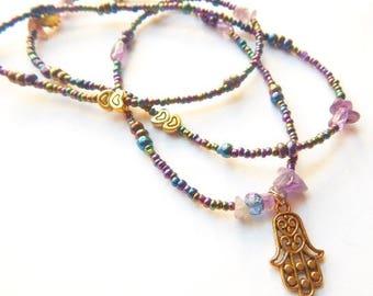 Amethyst Healing Hand of Fatima Waistbeads, African Waist Beads, Sacred Waist Beads, Hamsa Waist Beads, Tribal Belly Chain